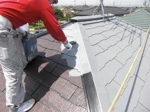屋根にガイナを塗っている職人